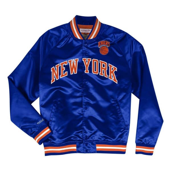 7ed5ba114 Mitchell   Ness New York Knicks Lightweight HWC Satin NBA Jacket Blue