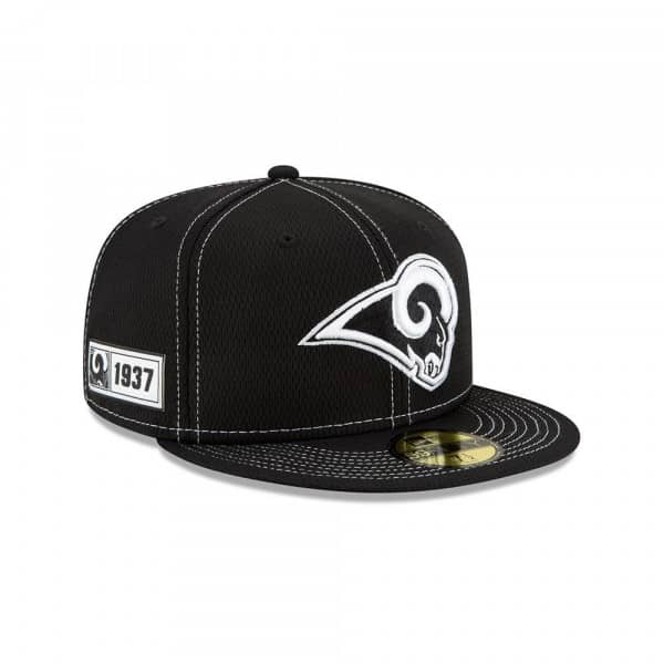 Los Angeles Rams 2019 NFL Sideline Black 59FIFTY Fitted Cap Road