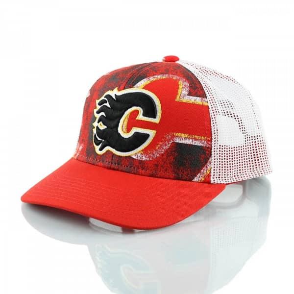 Reebok Calgary Flames Print Trucker NHL Cap  2462bd95d42d