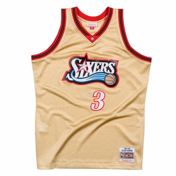 df6d062793a Mitchell   Ness Allen Iverson  3 Philadelphia 76ers 1997-98 Gold Collection  NBA Jersey