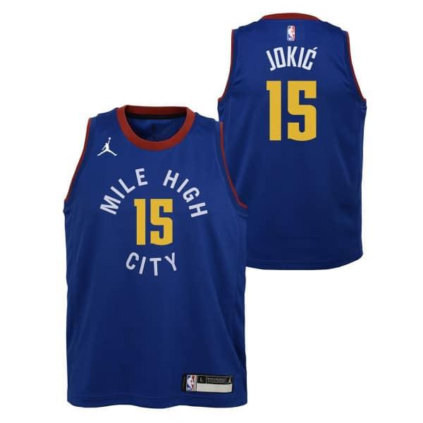 Nikola Jokić #15 Denver Nuggets Youth Jordan Swingman NBA Trikot Blau (KINDER)