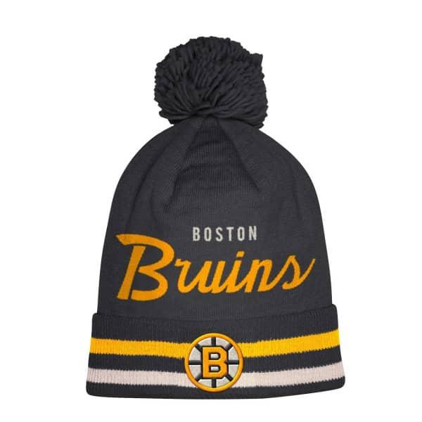 15d16b0d8995b9 adidas Boston Bruins Cuffed Beanie Pom NHL Knit Hat | TAASS.com Fan Shop