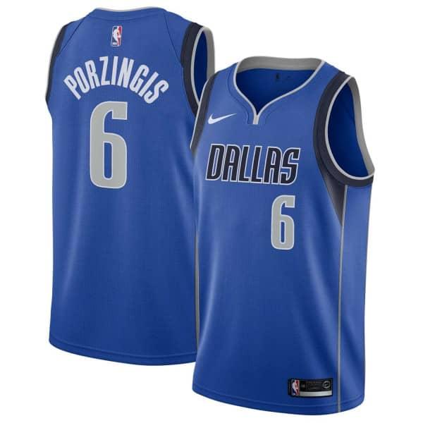 Kristaps Porzingis #6 Dallas Mavericks Icon Swingman NBA Trikot Blau