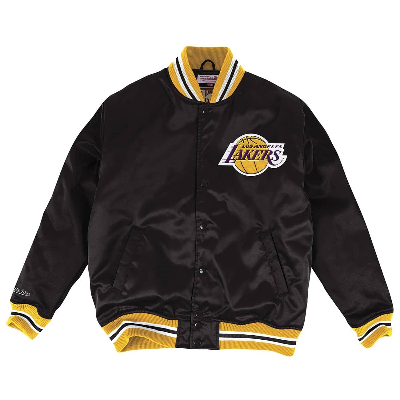 new style c32fd 73ad2 Mitchell   Ness Los Angeles Lakers HWC Satin NBA Jacke Black   TAASS.com  Fan Shop