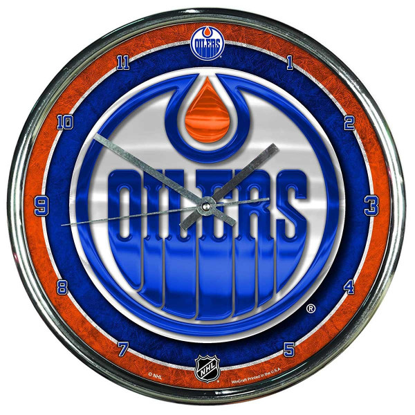 Edmonton Oilers Chrome NHL Wanduhr