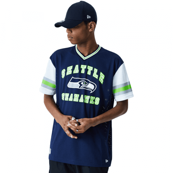 Seattle Seahawks New Era Arch Stripe Oversized Mesh NFL Fantrikot