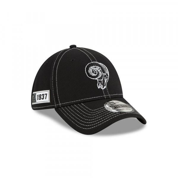 Los Angeles Rams Throwback 2019 NFL Sideline Black 39THIRTY Stretch Cap Road