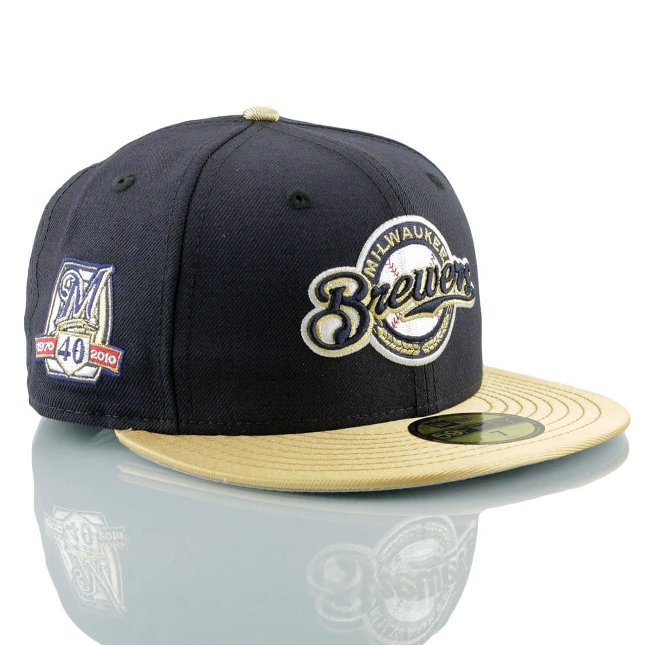 super popular 35d95 4badf New Era Milwaukee Brewers Gold 59FIFTY Fitted MLB Cap w  40th Patch   TAASS.com  Fan Shop