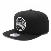 Detroit Pistons Black & White Wool Solid Snapback NBA Cap