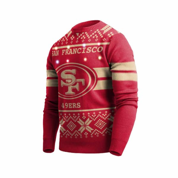 San Francisco 49ers 2 Stripe Light Up NFL Ugly Holiday Sweater