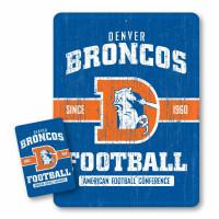 Denver Broncos Throwback NFL Metallschild & Magnet Set