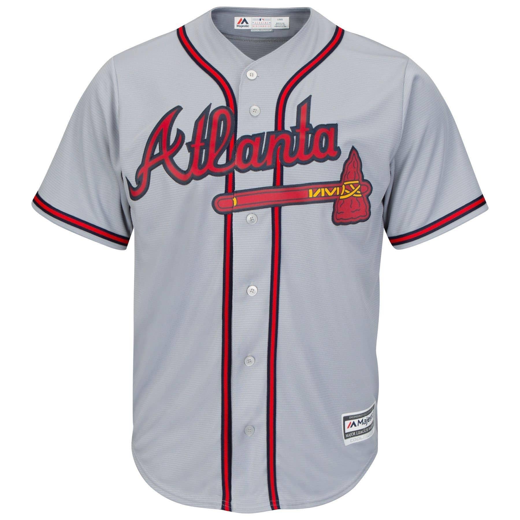 75ec61ed2 Majestic Atlanta Braves Cool Base MLB Jersey Road Grey