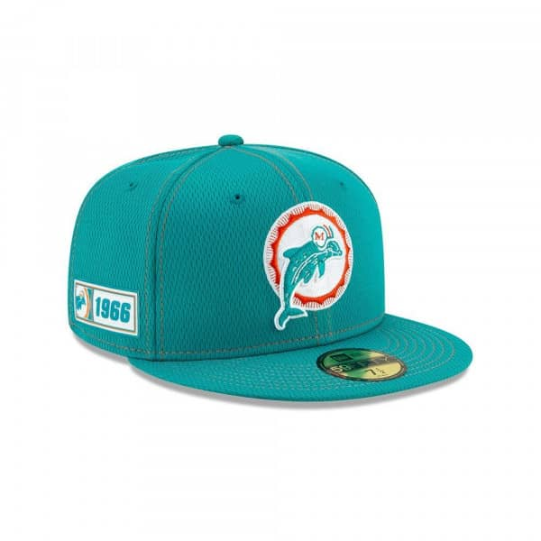 Miami Dolphins Throwback 2019 NFL On-Field Sideline 59FIFTY Fitted Cap Road
