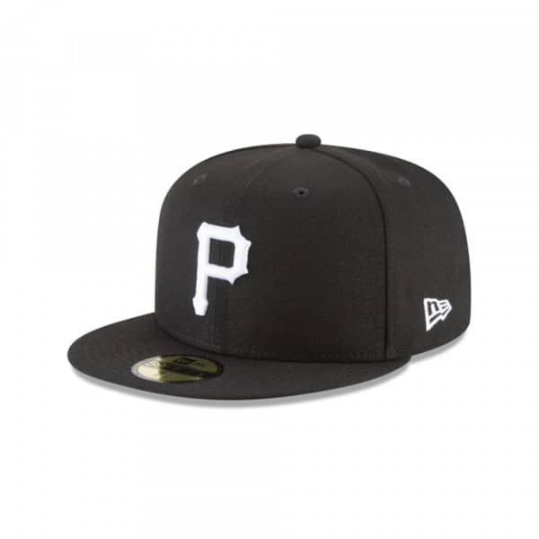 new style 3147c 742bf Pittsburgh Pirates Black   White 59FIFTY Fitted MLB Cap