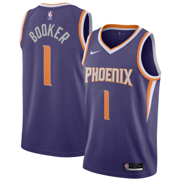 Devin Booker #1 Phoenix Suns Nike Icon Swingman NBA Trikot Lila