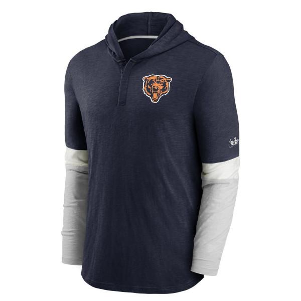 Chicago Bears 1962 NFL Historic Nike Long Sleeve Henley Hoodie