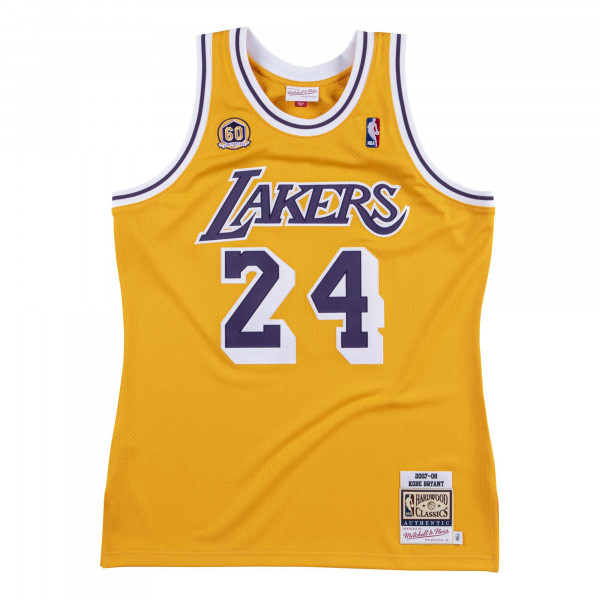 39861bec4e98 Mitchell   Ness Kobe Bryant  24 Los Angeles Lakers 2007-08 Authentic NBA  Jersey Yellow