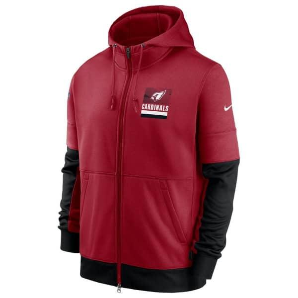 Arizona Cardinals 2020 NFL Sideline Lockup Nike Therma Full-Zip Hoodie