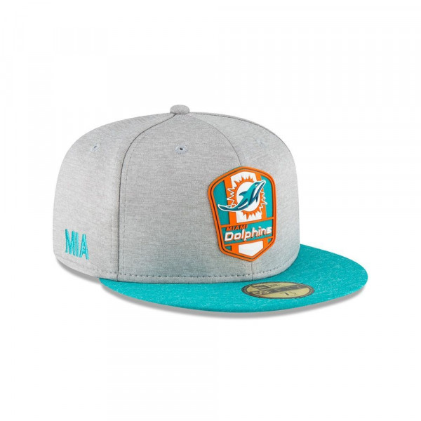 4acd736e Miami Dolphins 2018 NFL Sideline 59FIFTY Fitted Cap Road