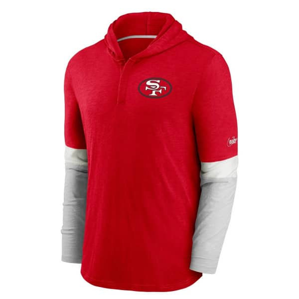 San Francisco 49ers 1970 NFL Historic Nike Long Sleeve Henley Hoodie