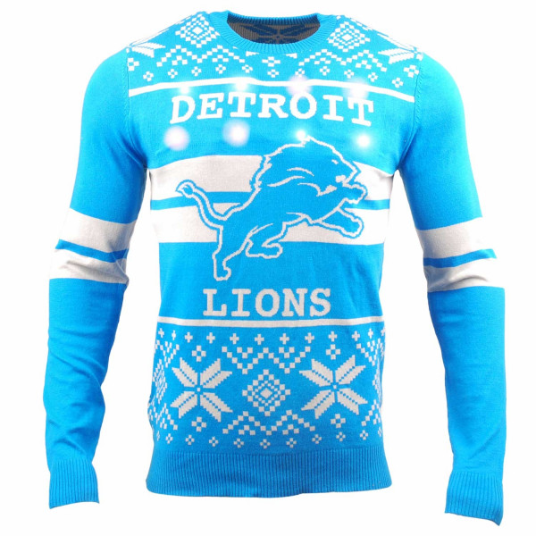 Detroit Lions 2 Stripe Light Up NFL Ugly Holiday Sweater