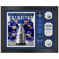 Tampa Bay Lightning 2021 Stanley Cup Champions Highland Mint Banner Silver Coin Foto