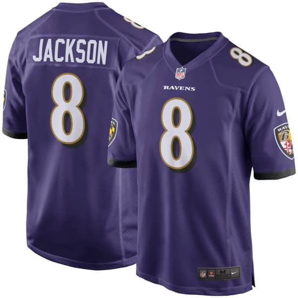 Lamar Jackson #8 Baltimore Ravens Nike Game Football NFL Trikot Lila