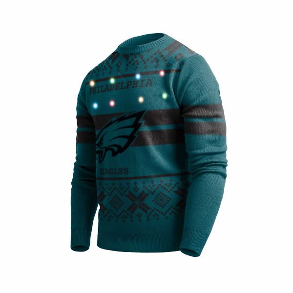 Philadelphia Eagles 2 Stripe Light Up NFL Ugly Holiday Sweater