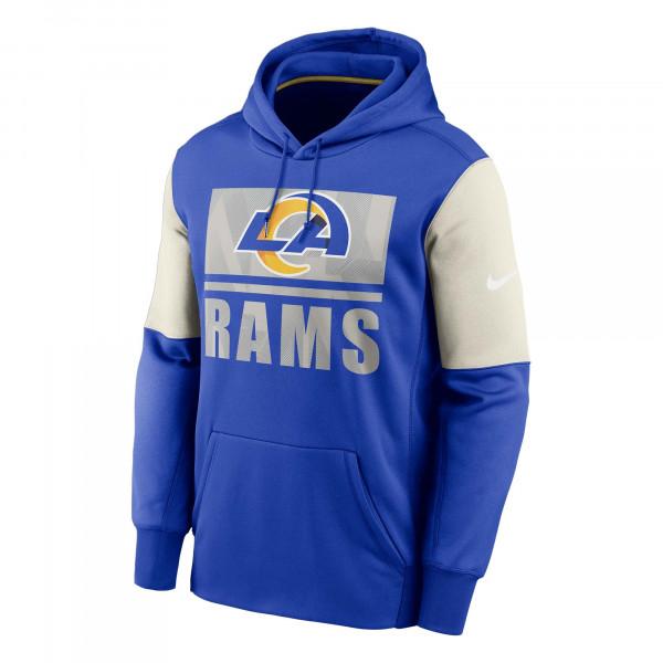 Los Angeles Rams Mascot Stack Nike Therma Pullover Hoodie Blau