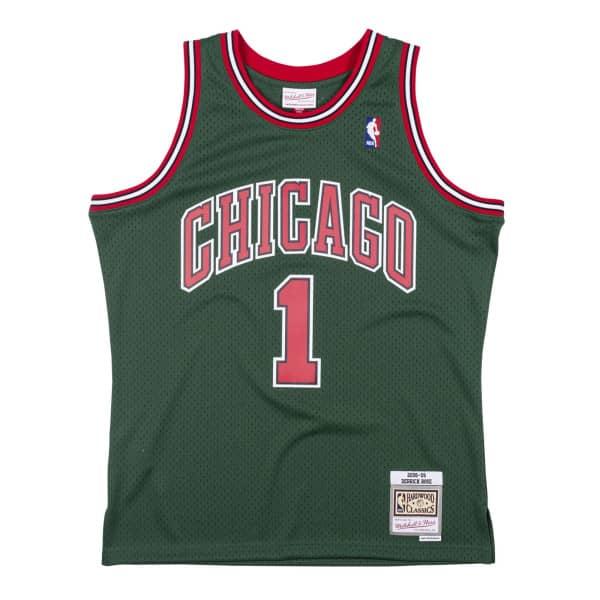 Derrick Rose #1 Chicago Bulls 2008-09 Green Week Mitchell & Ness Swingman NBA Trikot