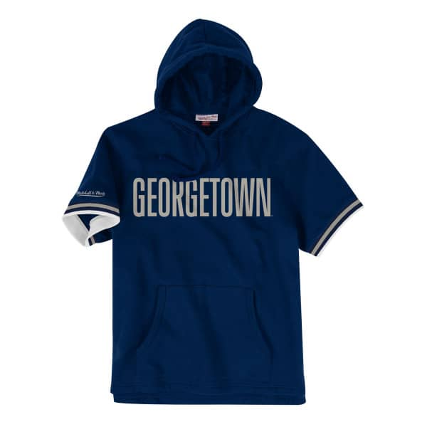 Georgetown Hoyas French Terry Mitchell & Ness Short Sleeve NCAA Hoodie
