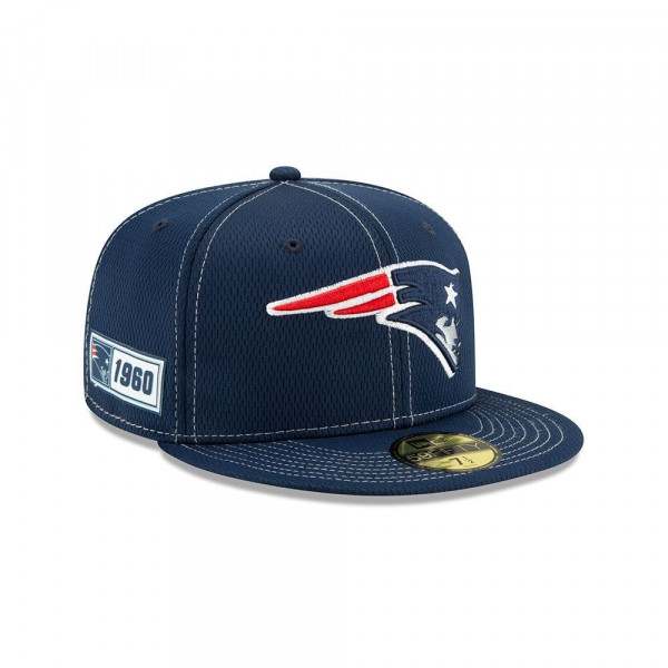 New England Patriots 2019 NFL On-Field Sideline 59FIFTY Fitted Cap Road