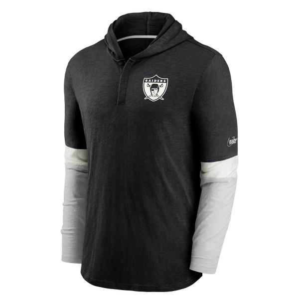 Las Vegas Raiders 1963 NFL Historic Nike Long Sleeve Henley Hoodie