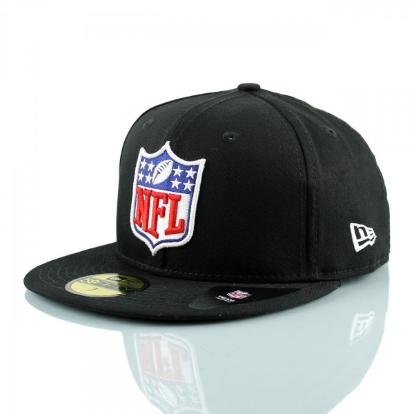 3ba2f8ff7f28 New Era NFL Shield Logo 59FIFTY Fitted Football Cap Schwarz   TAASS ...