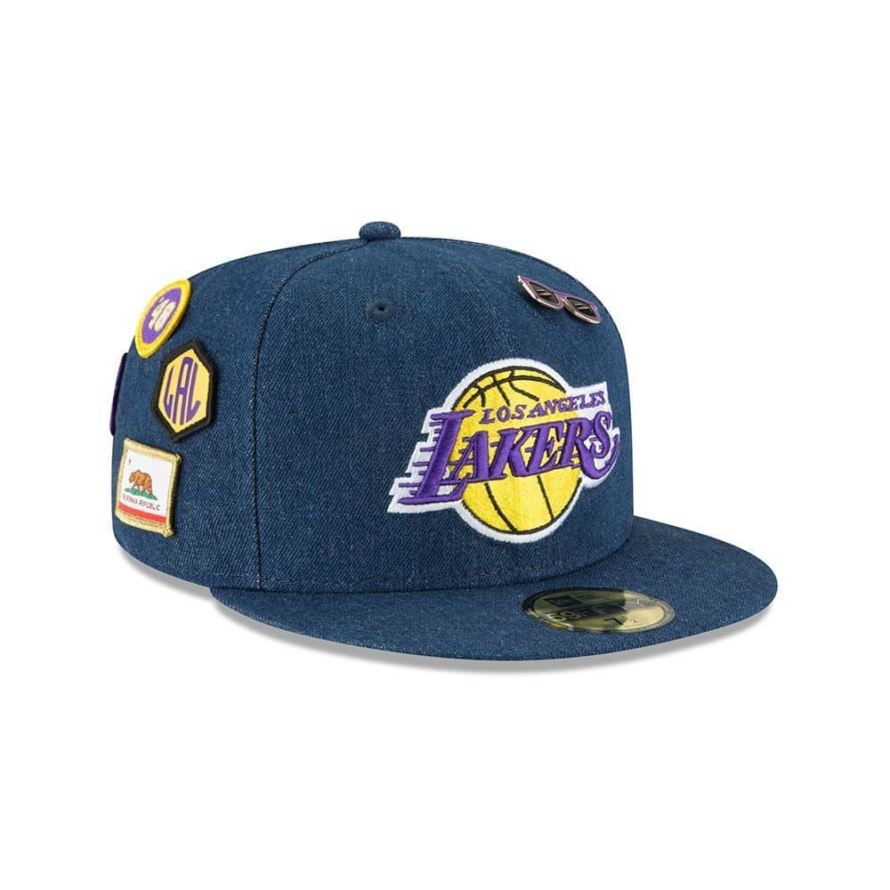2154e3158f7 New Era Los Angeles Lakers 2018 NBA Draft 59FIFTY Fitted Cap Blue Denim