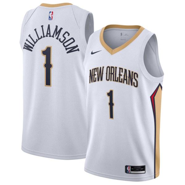 Zion Williamson #1 New Orleans Pelicans Nike Association Swingman NBA Trikot Weiß